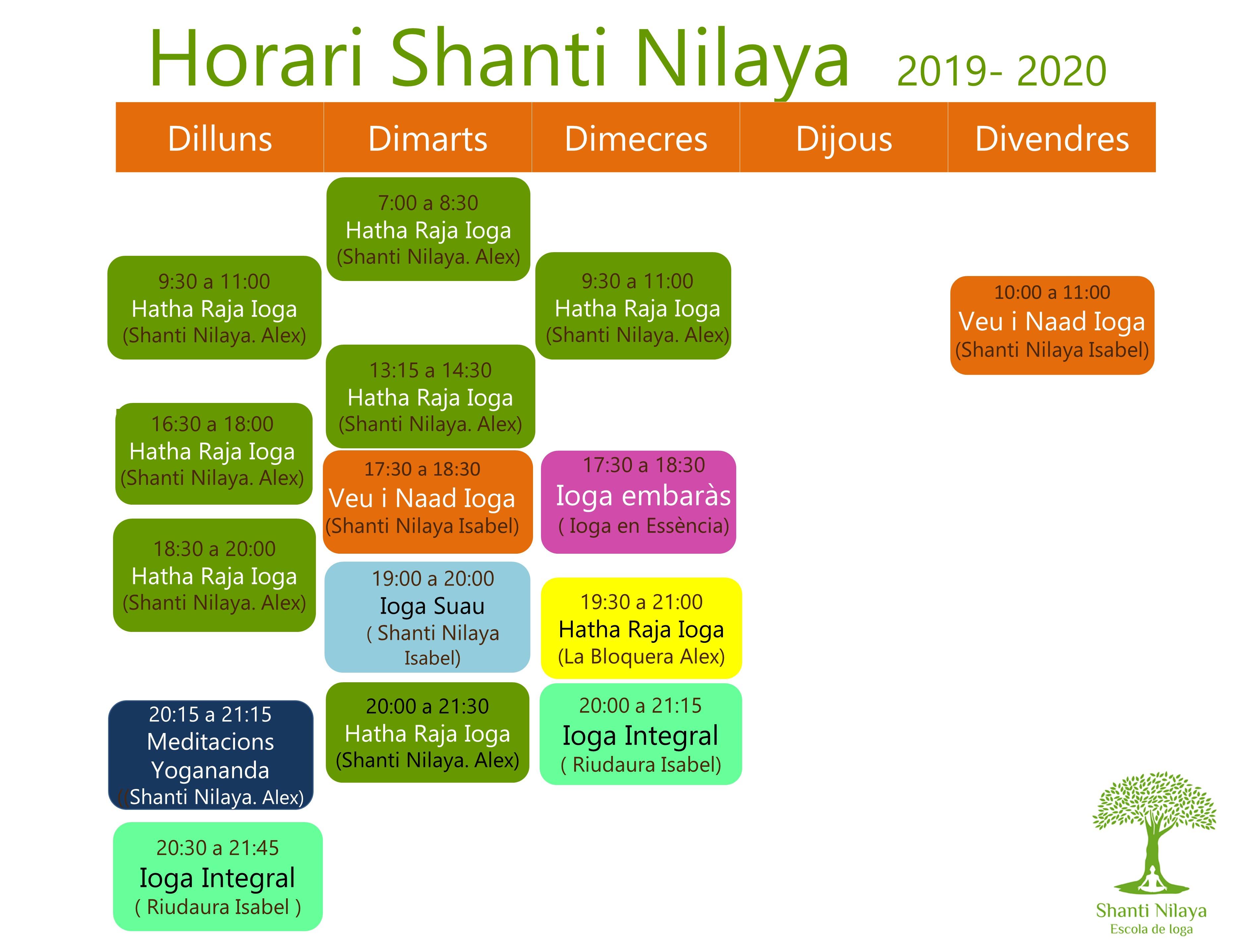 HorARI CURS 2019- 2020
